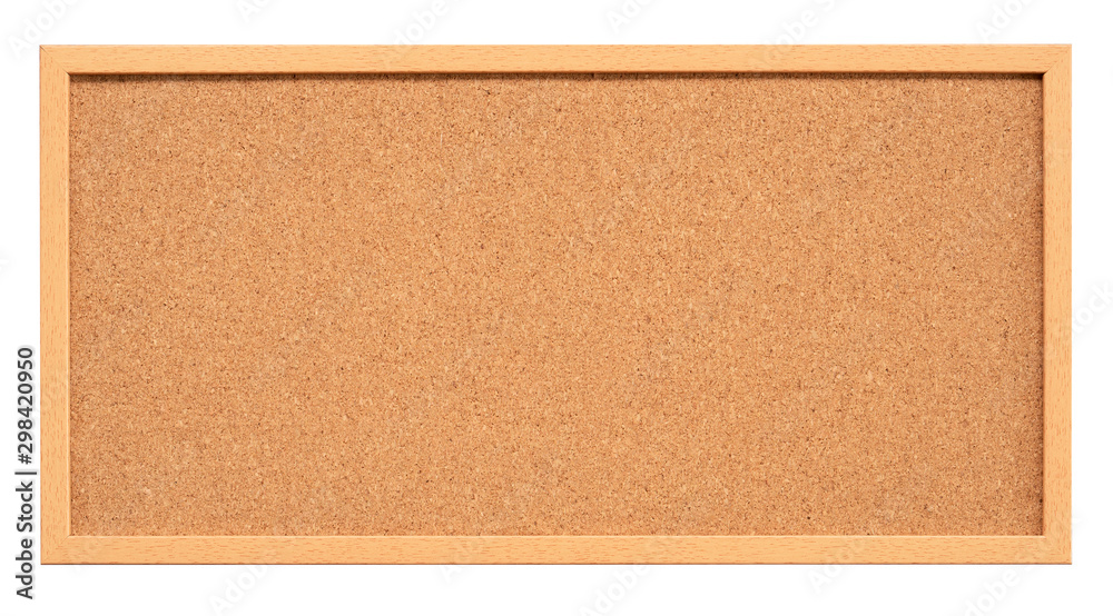 Fototapety, obrazy: Cork board with wooden frame isolated on white background, blank cork texture for post a notice or reminder(with clipping path)