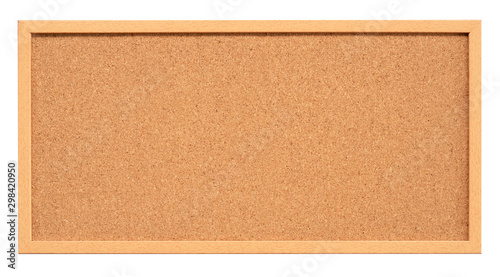 Fotografía  Cork board with wooden frame isolated on white background, blank cork texture fo