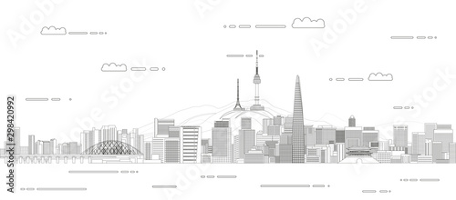 Canvas Print Vector travel background poster with Seoul city line art style outline illustrat