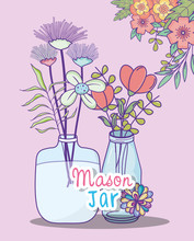 Mason Jars Flowers Branches Foliage Decoration