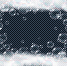 Realistic Soap Foam Bubbles Isolated On Transparent Background.