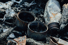 Iron Cans Burned In Fire. Bad ...