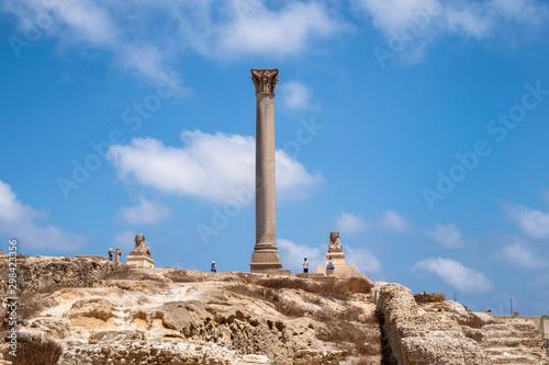 Pompey's Pillar and Sphinx at Serapeum of Alexandria, Egypt Canvas Print