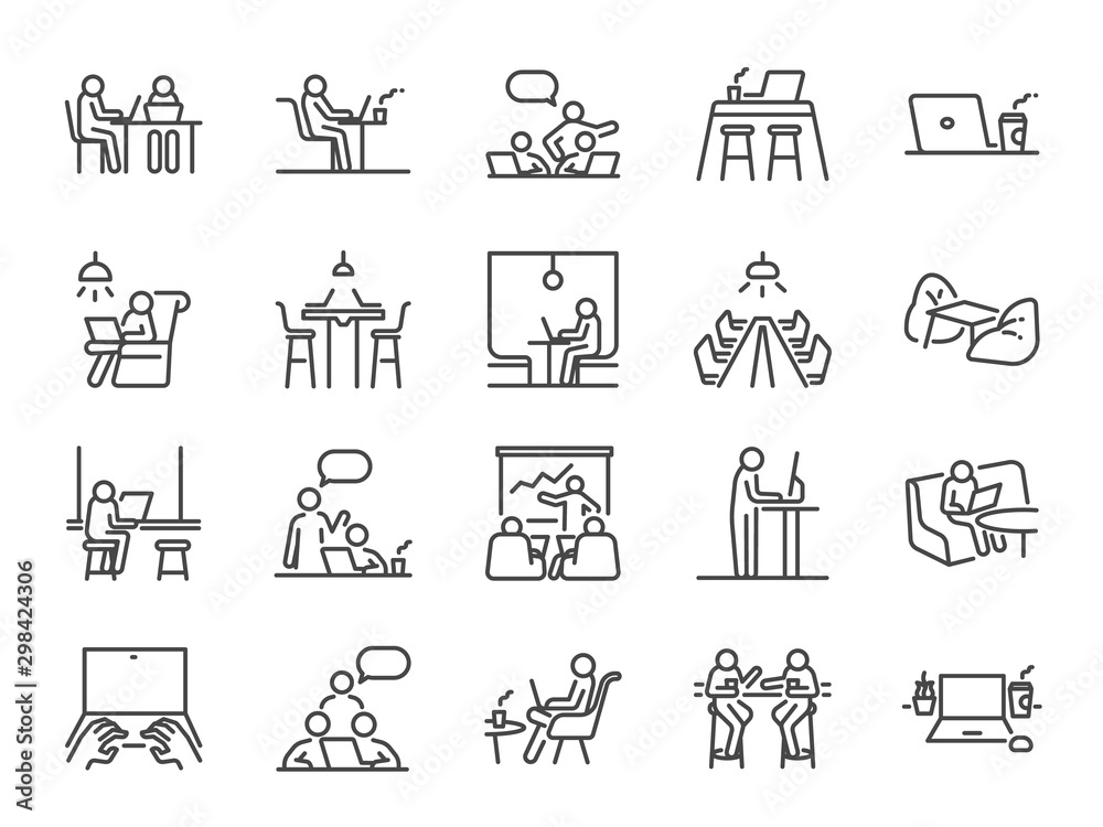 Fototapeta Co-working space line icon set. Included icons as coworkers, coworking, sharing office, business, company, work and more.