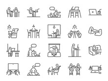 Co-working Space Line Icon Set...