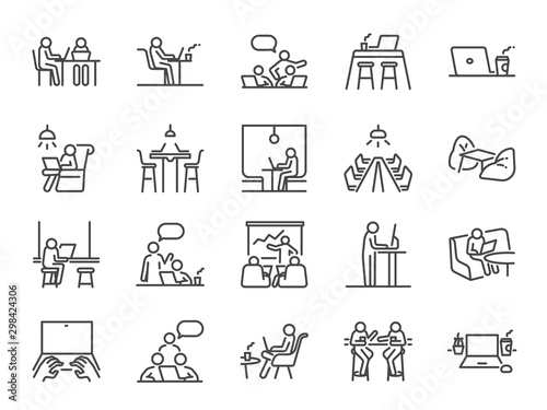 Cuadros en Lienzo Co-working space line icon set