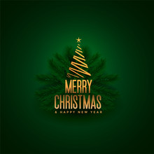 Elegant Merry Christmas Tree And Leaves Green Background