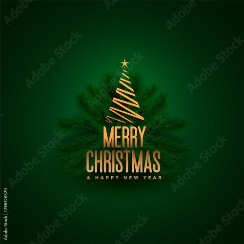 elegant merry christmas tree and leaves green background Fotobehang