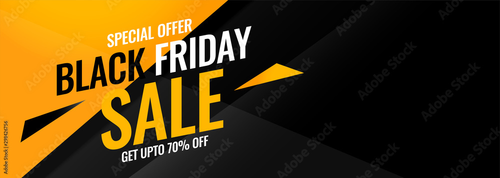 black friday yellow and black abstract sale banner