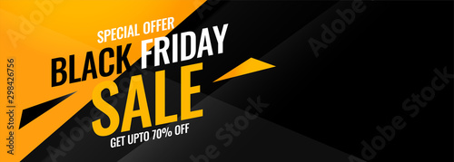 Fotografía  black friday yellow and black abstract sale banner