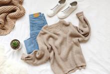 Blue Jeans, Beige Knitted Swea...