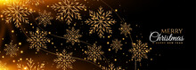 Black And Gold Snowflakes Merry Christmas Banner Design