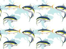 Yellowfin Tuna Cartoon Cute Seamless Pattern Wallpaper Background-01