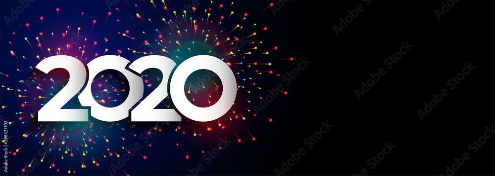 Fototapeta happy new year celebration 2020 firework banner design
