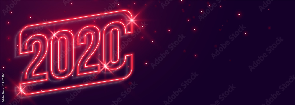 Fototapety, obrazy: beautiful 2020 new year neon style glowing banner design