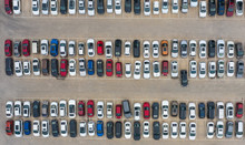 Aerial Shot Many Vehicles Park...