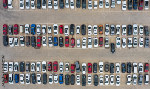 plakat Aerial shot many vehicles parked parking lot top view