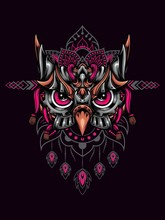 Owl Head Mecha Vector Illustra...