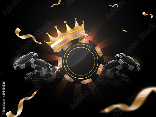 Fotomural 3D illustration of Casino chips with award crown on black rays background decorated with golden confetti ribbon