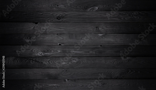 Black wooden background, old wooden planks texture - 298431148