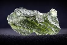 Macro Photography Of A Moldavite Stone On A Black Background