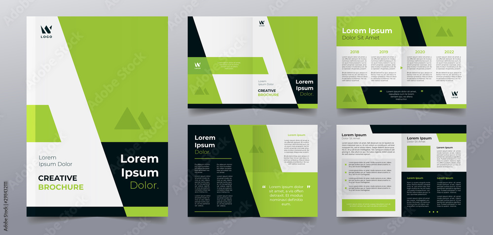 Fototapety, obrazy: green business brochure pages template