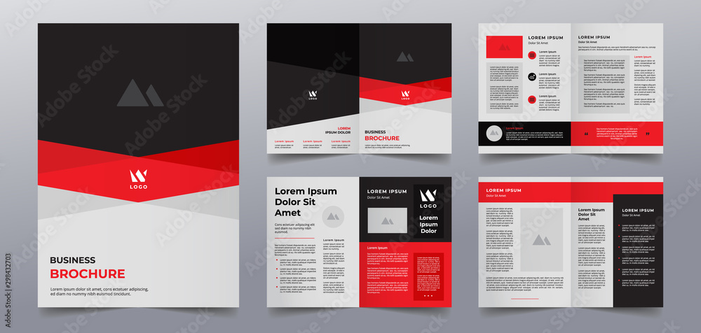 Fototapety, obrazy: red black business brochure pages