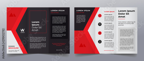 Fototapeta red  trifold business brochure template obraz