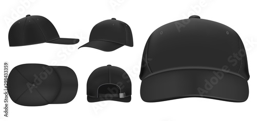 Fototapeta Black cap mockup. Sport baseball caps template, summer hat with visor and uniform hats different views realistic 3D vector set. Headwear illustrations collection. Cap front, top, side, back view obraz
