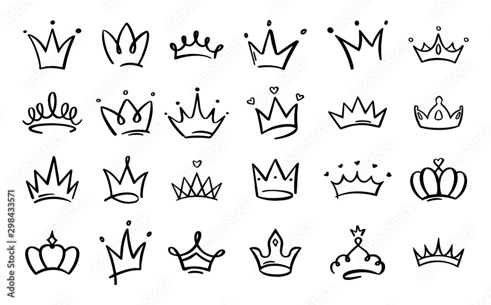 Fototapeta Doodle crowns. Line art king or queen crown sketch, fellow crowned heads tiara, beautiful diadem and luxurious decals vector illustration set. Royal head accessories linear collection