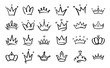 Doodle crowns. Line art king or queen crown sketch, fellow crowned heads tiara, beautiful diadem and luxurious decals vector illustration set. Royal head accessories linear collection