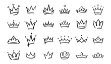 Hand Drawn Doodle Crowns. King Crown Sketches, Majestic Tiara, King And Queen Royal Diadems Vector. Line Art Prince And Princess Luxurious Head Accessories Isolated On White Background