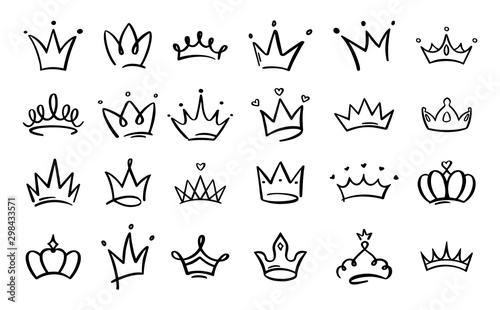 Obraz Doodle crowns. Line art king or queen crown sketch, fellow crowned heads tiara, beautiful diadem and luxurious decals vector illustration set. Royal head accessories linear collection - fototapety do salonu