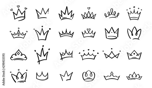 Hand drawn doodle crowns Canvas Print