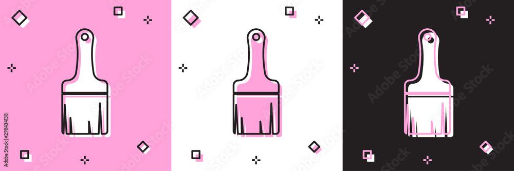Fototapety, obrazy: Set Paint brush icon isolated on pink and white, black background. Vector Illustration