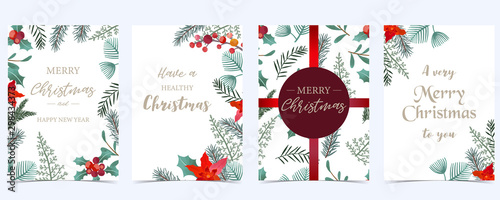 Fototapeta Collection of Christmas background set with holly leaves,flower,ribbon.Editable vector illustration for New year invitation,postcard and website banner obraz