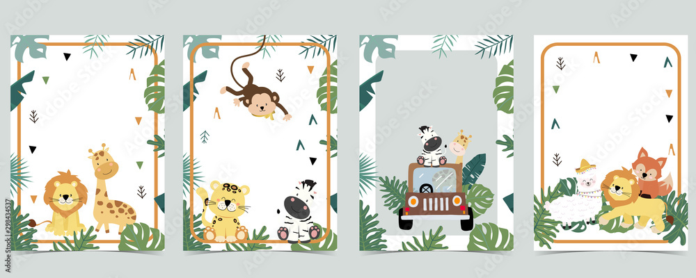 Fototapeta Green animal collection of safari empty frame set with lion,giraffe.Vector illustration for birthday invitation,postcard,logo and sticker