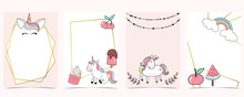 Pink Animal Collection Of Unicorn Empty Frame Set With Rainbow,cherry.Vector Illustration For Birthday Invitation,postcard,logo And Sticker.Editable Element