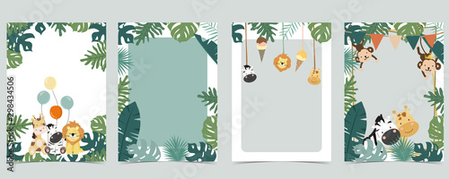 Green animal collection of safari empty frame set with lion,giraffe.Vector illustration for birthday invitation,postcard,logo and sticker