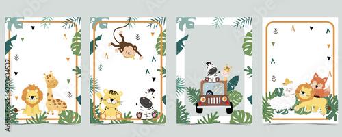 Green animal collection of safari empty frame set with lion,giraffe.Vector illustration for birthday invitation,postcard,logo and sticker - fototapety na wymiar
