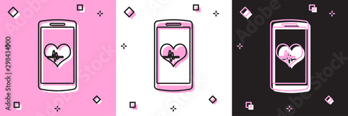 Valokuva  Set Smartphone with heart rate monitor function icon isolated on pink and white, black background