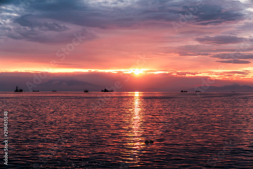 Manila Bay sunset in Pasay, Philippines.