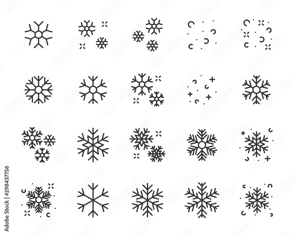 Fototapety, obrazy: set of winter icons, christmas, snowflake, season, winter sport, cold,