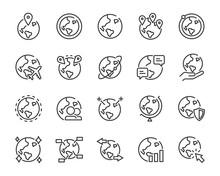Set Of World Icons, Globe, Glo...