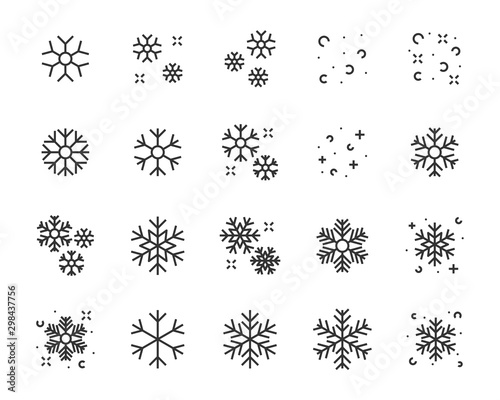 set of winter icons, christmas, snowflake, season, winter sport, cold, Wall mural