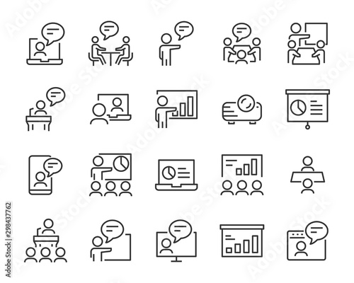 Obraz set of presentation icons, meeting, seminar, teamwork, training, presentation - fototapety do salonu