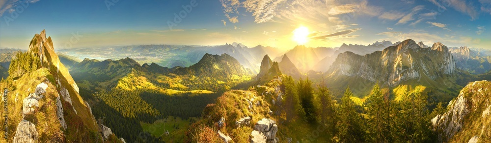 Fototapety, obrazy: Great panoramic view of morning mountains in Switzerland with Lake Zürich and many tops in autumn