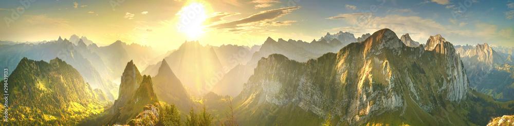 Fototapeta Panorama of sunrise mountains