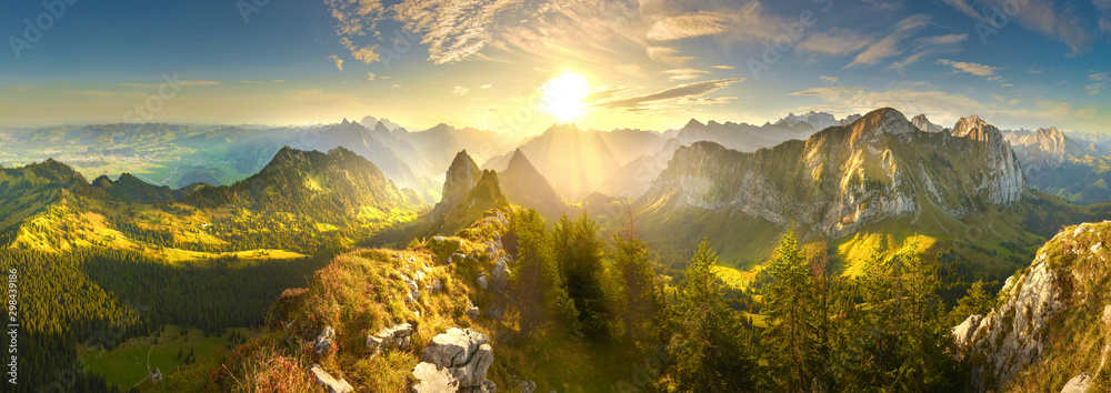 Fototapeta Autumn mountains at sunrise in Switzerland
