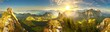 Leinwanddruck Bild - Great panoramic view of morning mountains in Switzerland with Lake Zürich and many tops in autumn